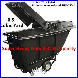 0.5 Cubic yd Super Heavy Duty dump cart, 850LB Capacity Tilt Truck Utility Trash