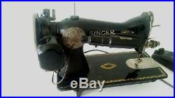 3 layers leather SUPER HEAVY DUTY SINGER 15-91 SEWING MACHINE+attachments (m52c)