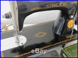 3 layers leather SUPER HEAVY DUTY SINGER 15-91 SEWING MACHINE+attachments (n119)