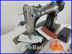3 layers leather SUPER HEAVY DUTY SINGER 15-91 SEWING MACHINE+attachments (n51a)