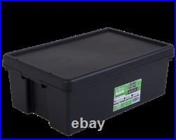 36 Litre Heavy Duty Plastic Storage Box Black Recycled Plastic Super Stong