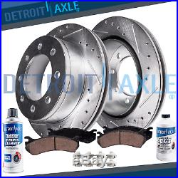 4WD AWD Front Drilled Brake Rotors Ceramic Pads 2005 2006 2007 Ford F250 F350 SD