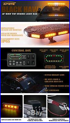 Amber 48 Rooftop LED Strobe Light Bar Flashing Emergency Warning Heavy Duty