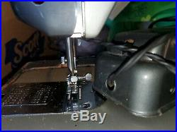Blue Rare Macy's Deluxe Zig Zag Supre-Macy Morse Heavy Duty Sewing Machine Japan