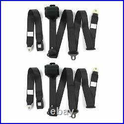 Camaro 1970 1981 Standard 3pt Black Retractable Bucket Seat Belt Kit 2 Belts