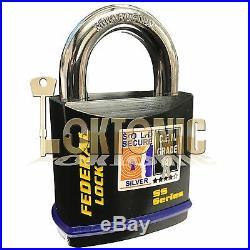 Federal FD730 Sold Secure Silver CEN 4 Super Heavy Duty Solid Steel Padlocks