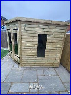 GARDEN SHED CORNER SUMMER HOUSE TANALISED SUPER HEAVY DUTY 10x10 19MM T&G. 3X2