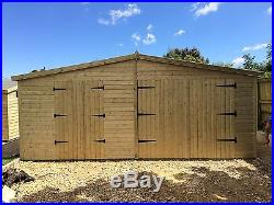 GARDEN SHED / GARAGE TANALISED SUPER HEAVY DUTY 20x12 APEX 19MM T&G. 3X2