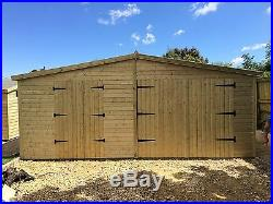 GARDEN SHED / GARAGE TANALISED SUPER HEAVY DUTY 20x12 APEX 19MM T&G. 4X2