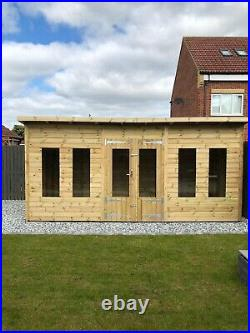 GARDEN SHED SUMMER HOUSE TANALISED SUPER HEAVY DUTY 16x8 19MM T&G. 3X2