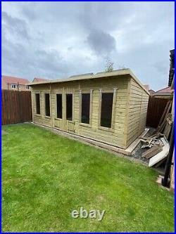 GARDEN SHED SUMMER HOUSE TANALISED SUPER HEAVY DUTY 18x10 19MM T&G. 3X2