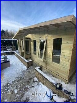 GARDEN SHED SUMMER HOUSE TANALISED SUPER HEAVY DUTY 24x12 19MM T&G. 4X2 ROOF