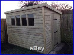 GARDEN SHED SUPER HEAVY DUTY TANALISED 10x6 PENT 19MM T&G. 3X2