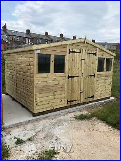 GARDEN SHED SUPER HEAVY DUTY TANALISED 12x10 APEX 19MM T&G. 3X2