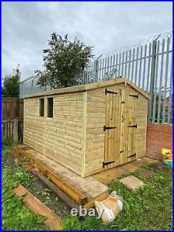 GARDEN SHED SUPER HEAVY DUTY TANALISED 12x8 APEX 19MM T&G. 3X2