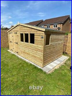 GARDEN SHED SUPER HEAVY DUTY TANALISED 14x8 APEX 19MM T&G 3X2