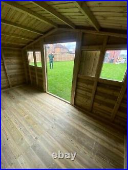 GARDEN SHED SUPER HEAVY DUTY TANALISED 14x8 APEX 19MM T&G. 3X2
