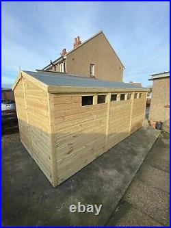 GARDEN SHED SUPER HEAVY DUTY TANALISED 16x8 APEX 19MM T&G. 3X2