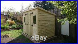 GARDEN SHED SUPER HEAVY DUTY TANALISED 8x6 PENT 19MM T&G. 3X2