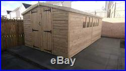GARDEN SHED TANALISED SUPER HEAVY DUTY 18x10 APEX 19MM T&G. 3X2