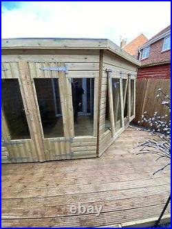 Garden Shed Corner Summer House Tanalised Super Heavy Duty 10x8 19mm T&g. 3x2