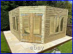 Garden Shed Corner Summer House Tanalised Super Heavy Duty 16x10 19mm T&g. 3x2