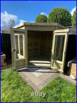 Garden Shed Corner Summer House Tanalised Super Heavy Duty 8x8 19mm T&g. 3x2
