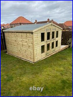 Garden Shed Summer House Tanalised Super Heavy Duty 12x10 19mm T&g. 3x2