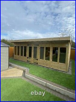Garden Shed Summer House Tanalised Super Heavy Duty 20x14 19mm T&g. 6x2 Roof