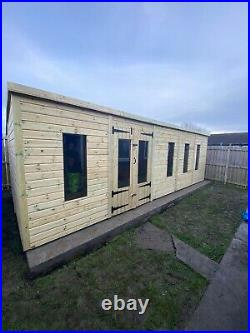 Garden Shed Summer House Tanalised Super Heavy Duty 24x10 19mm T&g. 3x2