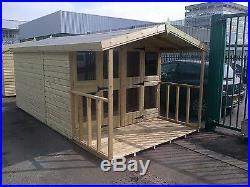 Garden Shed Summerhouse Tanalised Super Heavy Duty 14x8 19mm. 3x2