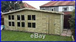 Garden Shed Summerhouse Tanalised Super Heavy Duty 20x12 19mm T&g. 3x2