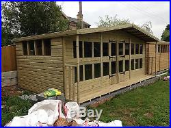 Garden Shed Summerhouse Tanalised Super Heavy Duty 20x12 19mm T&g. 4x2