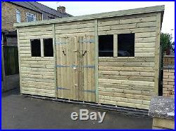 Garden Shed Super Heavy Duty Tanalised 12x10 Pent 19mm T&g. 3x2