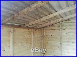 Garden Shed Tanalised Super Heavy Duty 10x10 Apex With 2ft Canopy 19mm T&g. 3x2