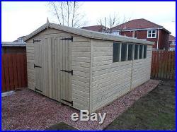 Garden Shed Tanalised Super Heavy Duty 16x10 Apex 19mm T&g Garage. 3x2 6ft Door