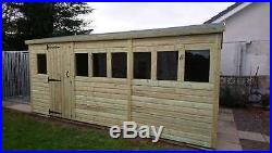 Garden Shed Tanalised Super Heavy Duty 16x12 Apex 19mm T&g. 3x2