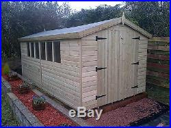 Garden Shed Tanalised Super Heavy Duty 18x8 Apex 19mm T&g. 3x2