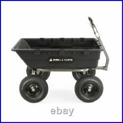 Gorilla Carts 1500 Pound Super Heavy Duty Poly Yard Dump Utility Cart, Black