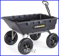 Gorilla Carts Dump Cart 1,500 lb. Super Heavy Duty Poly Yard Lawn Towable Handle