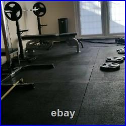 Gym Floor Mats Heavy Duty Solid Rubber 4 Mat Pack Super Grip 12mm Thick