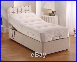 Heavy Duty Adjustable Electric Mobility Pocket Bed In Chenille Cubed Headboard