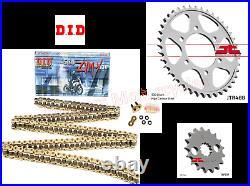 Kawasaki ZZR1200 Super Heavy Duty DID ZVMX Gold X-Ring Chain & JT Sprockets Kit