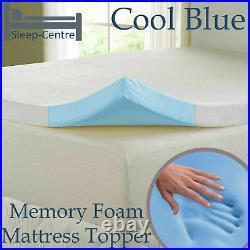 Lavish New Cool Blue Memory Foam Topper 3ft, 4ft, 4ft6,5ft, 6ft+ Depth 1,2,3,4