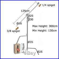 Metal C-Stand Boom Arm Super Heavy Duty Sliding 300cm, 50 Grip Arm & Grip Heads
