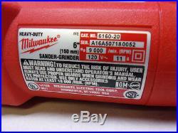 Milwaukee 6160-20 Heavy Duty 11 Amp 6 Super Magnum Grinder & Metal Case USA