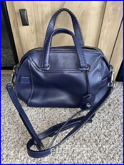 New Coach Glovetanned Ace Satchel Navy Blue Leather Purse Shoulder Bag Handbag