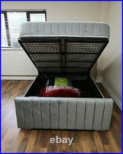 New Heavy duty Ottoman Storage Plush Fabric Panel Bed Frame UK MADE