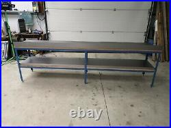 New Super Heavy Duty Steel Work Bench 2.4m x 600mm x 840mm High, made to order
