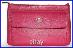 New Tory Burch- Super Thin Wrist-let Wallet Raspberry Pink Gold